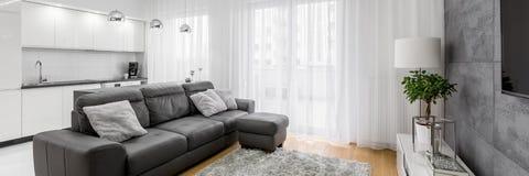 Wohnzimmer mit ledernem Sofa lizenzfreie stockfotos