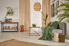 Wohnzimmer mit Leuchter lizenzfreie stockbilder