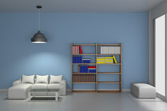 Wohnzimmer mit modernem Bücherschrank - Wiedergabe 3D Stockfoto