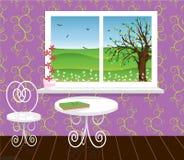 Wohnzimmer mit schöner Landschaft Stockfotos
