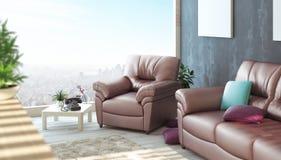 Wohnzimmer mit Sofa und Parkett Lizenzfreie Stockfotos