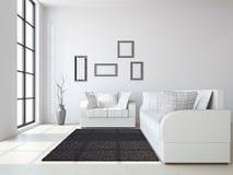 Wohnzimmer mit Sofas und einem Vase lizenzfreie abbildung