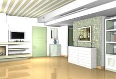 Wohnzimmer mit traditionellen Materialien in den modernen Formen Stockfotografie