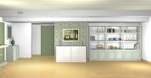 Wohnzimmer mit traditionellen Materialien in den modernen Formen Lizenzfreie Stockfotos