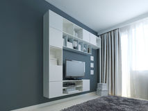 Wohnzimmer mit Wandschranktendenz Stockfoto