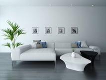 Wohnzimmer Mit Weißer Couch Und Porträts Vektor Abbildung