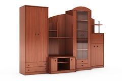 Wohnzimmer-Schrankwand Wiedergabe 3d Stockfotografie