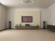 Wohnzimmer und Fernsehapparat stock abbildung