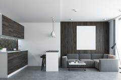 Wohnzimmer und Küche, konkret lizenzfreie abbildung