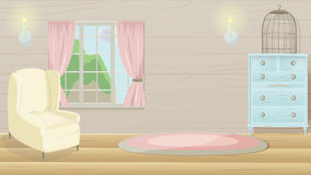 Wohnzimmer-Weinlese-Karikatur-Hintergrund-Vektor lizenzfreie abbildung