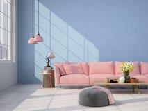 Wohnzimmerdachbodeninnenraum Wiedergabe 3d lizenzfreies stockfoto