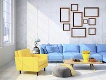 Wohnzimmerdachbodeninnenraum Wiedergabe 3d vektor abbildung