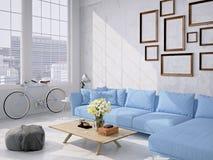 Wohnzimmerdachbodeninnenraum Wiedergabe 3d stockfotografie