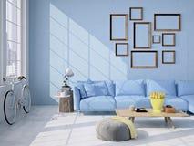 Wohnzimmerdachbodeninnenraum Wiedergabe 3d stockbilder