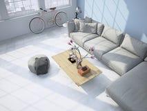 Wohnzimmerdachbodeninnenraum Wiedergabe 3d lizenzfreie stockbilder
