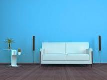 Wohnzimmerdetail mit einem Sofa des weißen Leders Stockfoto