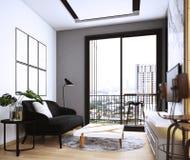 Wohnzimmerentwurf, Innenraum der modernen gemütlichen Art stock abbildung