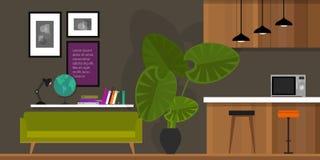 Wohnzimmerhauptinnenküche Stockfoto