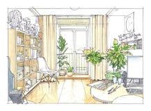 Wohnzimmerinnenraum im Aquarell Stockfoto