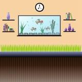 Wohnzimmerinnenraum mit Aquarium, Bücherregalen, Uhr und indoo Lizenzfreies Stockfoto