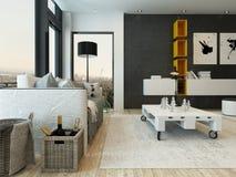 Wohnzimmerinnenraum mit Schemel zwei und Schachspiel Lizenzfreie Stockfotografie