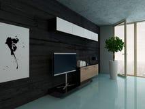 Wohnzimmerinnenraum mit Schrank gegen schwarze Steinwand Stockfoto