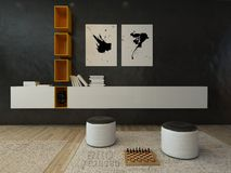 Wohnzimmerinnenraum mit schwarzer Wand und modernen Möbeln Stockfotos