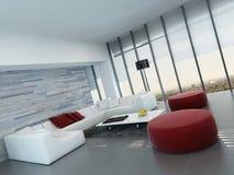Wohnzimmerinnenraum mit Steinwand und roten Schemeln Stockbild