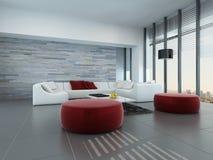 Wohnzimmerinnenraum mit Steinwand und roten Schemeln Stockfotografie