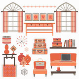 Wohnzimmermöbel und -Zubehör im korallenroten Rot mit Fenstern lizenzfreie abbildung