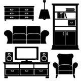 Wohnzimmermöbelikonen stellten, schwarze lokalisierte Schattenbilder, Illustrationen ein Stockbilder