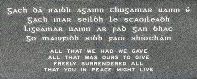 Wojenna Pamiątkowa plakieta w Ballina Irlandia Obrazy Stock