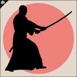 wojenne sztuki Karate sylwetki myśliwska scena Zdjęcie Royalty Free