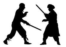 Wojenne walk sztuki 3d batalistyczna piękna postać ilustracyjni kordziki trzy bardzo Sylwetka wektor Fotografia Royalty Free