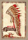 Wojennej czapeczki piórka Kapeluszowej Kolorowej mody Pionowo plakat ilustracji