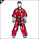 Wojenny karate wojownik w czerwonym dog, kimono Zdjęcie Royalty Free