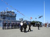 Wojenny statek w Klaipeda schronieniu, Lithuania Zdjęcie Royalty Free