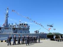 Wojenny statek w Klaipeda schronieniu, Lithuania Zdjęcie Stock
