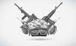 Wojenny temat z hełmem i broniami Obraz Royalty Free