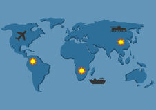 Wojna mapa ilustracyjny stary świat Zdjęcia Royalty Free