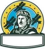 Wojny Światowa Jeden lotnika Spadu biplanu Pilotowy okrąg Retro Fotografia Royalty Free