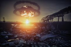 Wojny atomowej katastrofa obraz stock