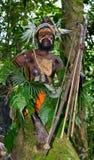 Wojownicy Papuaski plemię Yafi w tradycyjnych ubraniach, ornamentach i kolorystyce, Nowa gwinei wyspa, Fotografia Stock