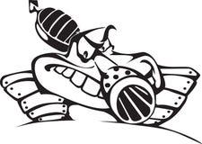 wojowniczej kreskówki szalony zabawy zbiornik ilustracja wektor