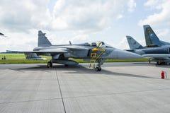 Wojownik, atak i wywiadowczy samolot Saab JAS-39 Gripen, Zdjęcie Stock