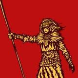 Wojownik dziewczyna trzyma dzidę przygotowywa dla batalistycznej ilustraci ilustracji