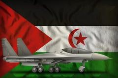 Wojownik, interceptor na westernu Sahara stanu flagi tle ilustracja 3 d ilustracja wektor