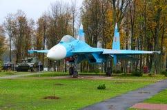 Wojownik Su-27 w parku Trzy bohatera, Senno, Białoruś Zdjęcia Stock