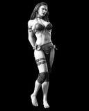 Wojownika Amazon kobieta z kordzikiem ilustracja wektor