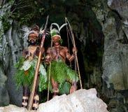 Wojownika plemię Yaffi w wojennej farbie z łękami i strzała w jamie Nowa gwinei wyspa Zdjęcie Royalty Free